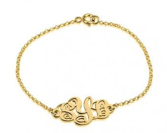 24K Gold Plated Monogram Bracelet