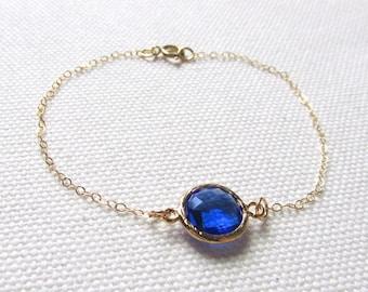 Cobalt Blue Gold Bracelet Blue Crystal Stone Dainty Jewelry Minimalist Bridal