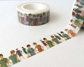 Limited edition madameburda washi tape roll, 50's fashion design, fashion washi tape, scrapbooking