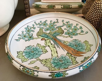Mid Century Gold Imari Peacock, Hand Painted Large Shallow Bowl, Aqua, Lime, Gold, Gilded Peacocks, Arita Busson Co, Vintage, Heugile Japan