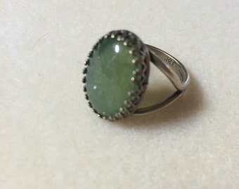 Prehinite Ring!! Huge Stone!! Size 8, Crown Top Brass Ring!!