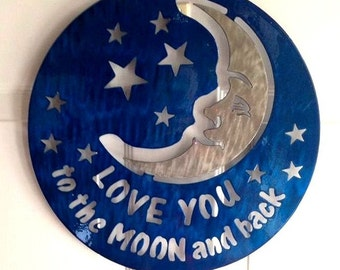 Love You To The Moon And Back Metal Plaque