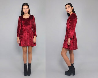 Vtg 90s Burgundy Velvet Cage Cutout Minimal Mini Dress S M