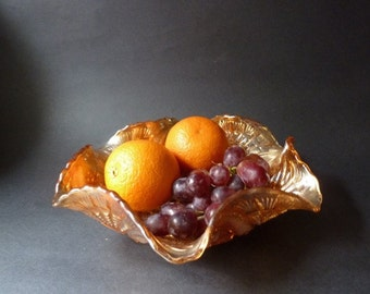 Vintage orange carnival glass bowl, pressed glass, VGC, free UK shipping