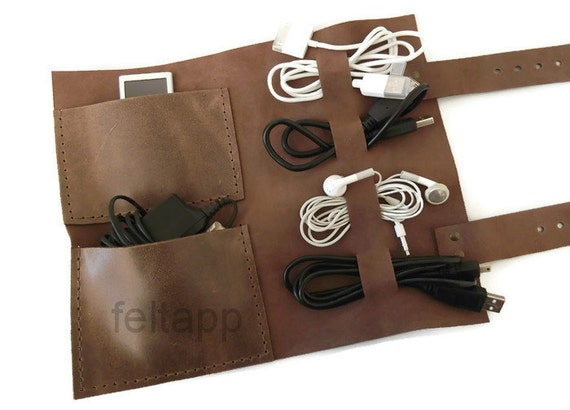 Leather Cable Holder Cord Organizer Cable Case Cord Case