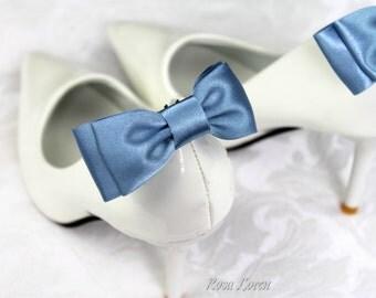 Dark Blue Shoe Bows, Dusky Blue Bow Shoe Clips, Something Blue Wedding Accessories Shoes Clip, Dark Blue Bow Clip Shoes