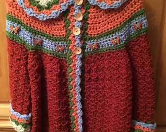 Little girls sweater and hat size 6.