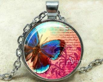 Blue Butterfly, butterfly, butterfly pendant, butterfly jewelry, iridescent blue, Pendant #AN104P