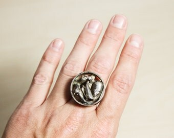 Stunning Abstract Modernist Fluid Statement Ring By AD Design Denmark Size 6 - 7 Adjustable