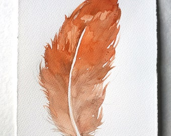 "Tawny Feather Painting/ Watercolor art/ Feather watercolor painting/ Small watercolors '7,5""x11"" Feather wall art/ Minimalist art, Rakla"