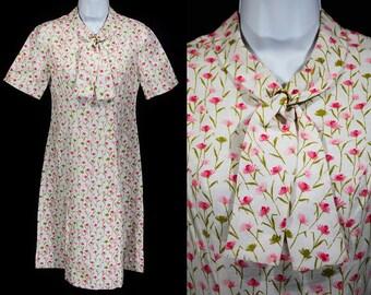 Vintage 60's Pink Floral Dress S