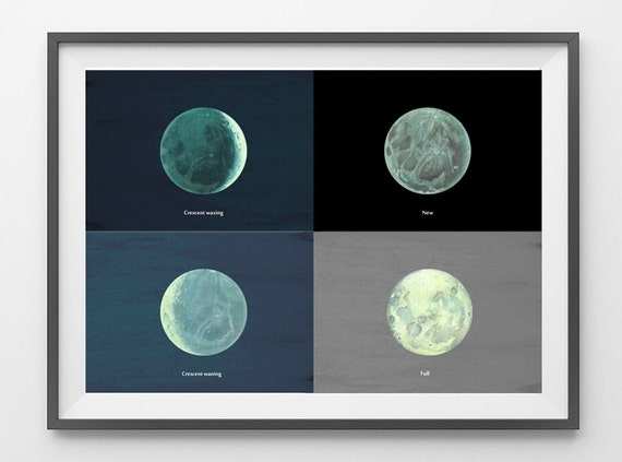 Moon Phases Astronomy Print Poster to Frame Planet  Earth Illustration Upcycled