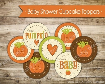 Pumpkin Baby Shower Cupcake Toppers - Instant Download