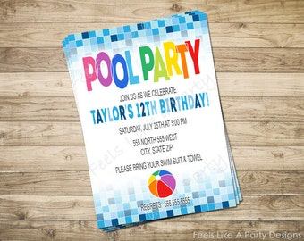 Pool Party Custom Invite