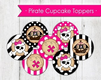 Pink Pirate Cupcake Toppers - Instant Download