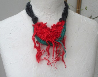 Yarn necklace, crochet necklace, red necklace, Necklace pocket , Necklace Fiber, Linen Yarn Necklace,   cord  yarn thick-thin, OOAK