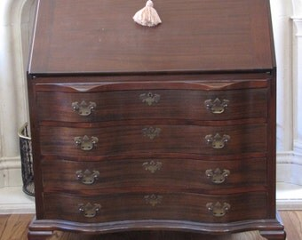 Vintage Chippendale Mahogany Serpentine Desk