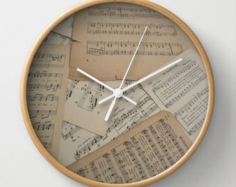 Vintage Music Wall Clock, music clock, sheet music clock. music home decor, music gift idea