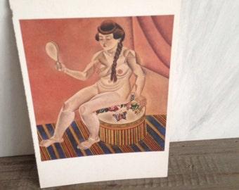 Miro woman postcard
