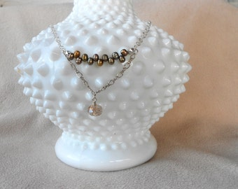 Pearl choker with crystal drops on  sterling silver chain