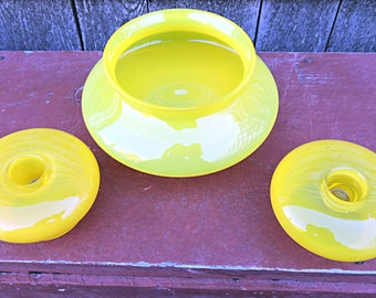 Console Set Canary Yellow Candlestick Holders and Flower Bowl Bohemian Flair meets Art Deco Vintage Candle Stick Holders