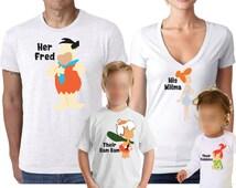 Flintstones Shirts, Family Shirts, Group Shirts, Cartoon Shirt, Fred and Wilma Shirt, pebbles, Bambam, Betty, Barney