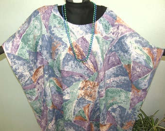 Watercolor Print CAFTAN or KAFTAN - Cotton All Occasion One Size - Blue Green Lavender Brown