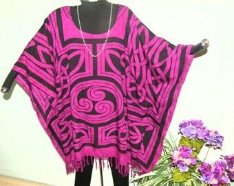 PLUM CELTIC DESIGN Plus Size Tunic, Top or Poncho - Sophisticated, Destincitve Celtic Design with Black - Premium Quality Cloth
