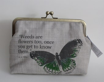 Screen-printed Butterfly and Milne Quote Handbag