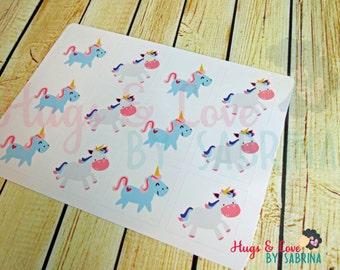 Unicorns Square Sticker Set