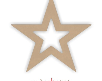 """12"""" Unfinished MDF Wood Star Frame Shape"""