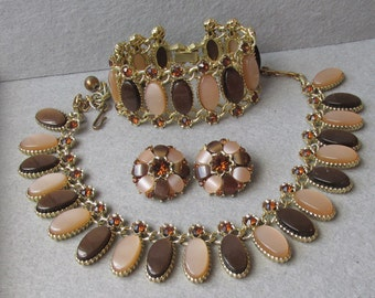 BIG Pristine 1950's Taupe & Brown Thermoset Lucite with Rhinestones Necklace, Bracelet, Earrings Vintage Parure
