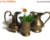 Brass Pitcher, Indian Brass, Set of 3 brass pitchers, brass vase, etched Indian Brass, Brass Wedding Decor, Rustic Home Decor, made in India