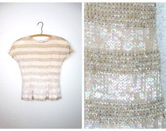 VTG Iridescent Sequined Beaded Top // Stripe Cream and Silver Sequin Blouse by Oleg Cassini