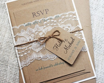rustic wedding invitation lace wedding invitation rustic lace wedding invitation shabby chic wedding