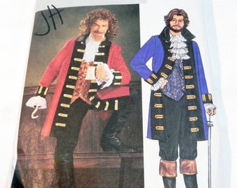 """SALE Pirate Jacket Captain Hook Coat Halloween Costume Vest Jabot Pants sewing pattern Butterick 3894 Chest Size 42 44 46 48"""" UNCUT FF"""