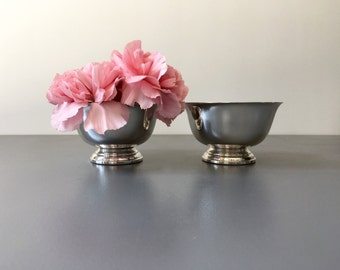 vintage mini silver footed bowls Paul Revere Liberty pair of 2 silver-plated