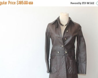 ON SALE 40% Off Leather Coat, Chocolate Brown Leather Jacket, Gift For Her, Vintage