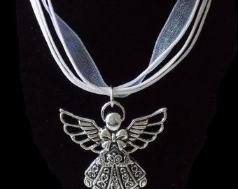 Guardian Angel Pendant Necklace in Silver and White