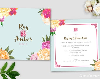 Printable Wedding Invitation Set | wedding Invitation + RSVP Card |Oriental Floral | DIY | Red | Double Happiness
