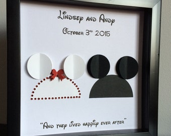 Disney Inspired Wedding - 3d Paper Art - Customize for the perfect wedding or anniversary gift