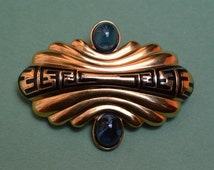 FENDI Vintage Signed Pin Brooch Blue Gripoix Glass Cabochon Early  1990s