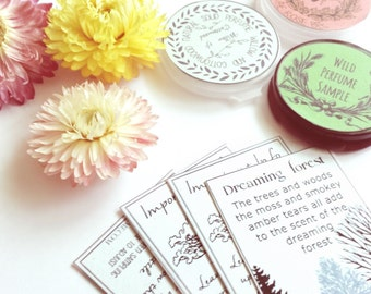 Solid Perfume Samples YOU CHOOSE Two Botanical Perfumes Testers, get 3, Your Choice Natural Fragrances