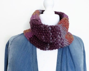 Hand knit cowl, multi colour knit chunky neckwarmer, UK scarf shop.
