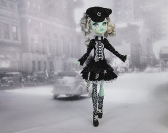 Black and gray gothic lolita steampunk dress and legwarmers outfit Hand Made fits Monster High doll