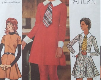 Vintage Simplicity 5150 Sewing Pattern Tie and Mini-Dress with Detachable Collar and Cuffs