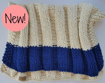 100% Wool Hand Knit Throw- Ready To Ship!