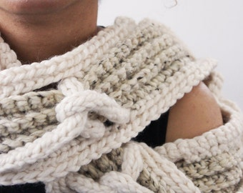 Cozy Infinity Scarf . Super Soft and Warm . Rope Accents . Wool Acrylic Mix . Cream and Marble