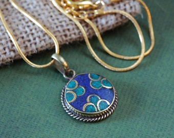 Small blue simple Tibetan Buddhist Pendant with chain