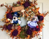 Mickey Minnie Mouse Fall Wreath, Mickey Minnie Mouse Thanksgiving Wreath, Fall Thanksgiving Wreath Disney Fall Wreath